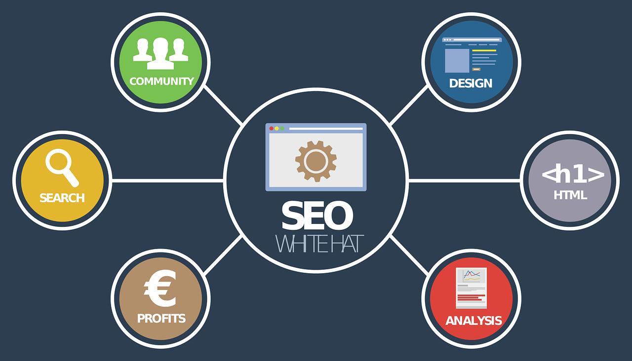 Eine Grafik mit SEO im Zentrum und den Unterpunkten Community, Search, Profits, Analysis, HTML und Design