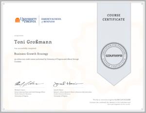 Ein Zertifikat von Toni Großmann für Business Groth Strategy