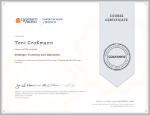 Ein Zertifikat von Toni Großmann für Strategic Planning and Execution