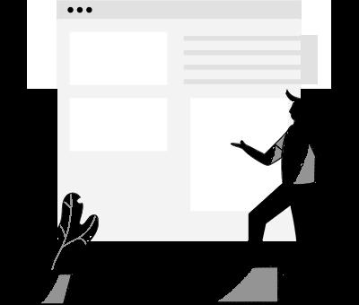 Ein Mann der eine Website betrachtet